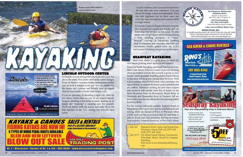 kayaking in Mainw
